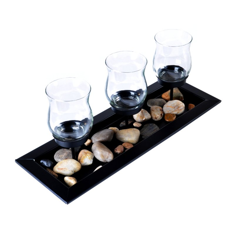 Candle holders lerman decor inc for Long rectangular candle tray
